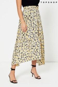 Topshop Daisy Print Dip Hem Midi Skirt