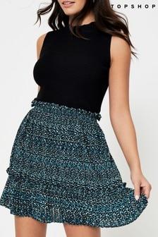 Topshop Animal Print Pleated Mini Skirt