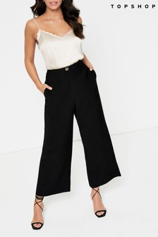 Topshop Wide Leg Stitch Crop Trouser