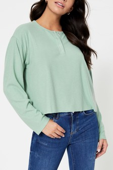 Topshop Long Sleeve Rib Top