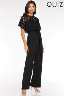 Quiz Lace Batwing Sleeve Tie Waist Wide Leg Jumpsuit