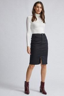 Dorothy Perkins Black Midi Denim Skirt