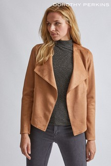 Dorothy Perkins Tan Suedette Waterfall Jacket