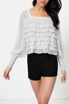 Topshop Frill Square Neck Top