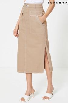 Topshop Pocket Midi Skirt