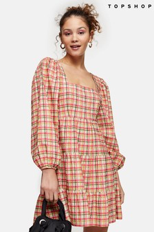 Topshop Textured Check Mini Dress