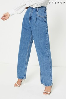 Topshop Long Leg Pleated Dad Jeans