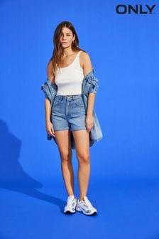 Only High Waisted Stretch Mom Denim Shorts