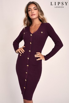 Lipsy Knitted Military Button Through Dress