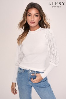 Lipsy Knitted Pointelle Sleeve Jumper