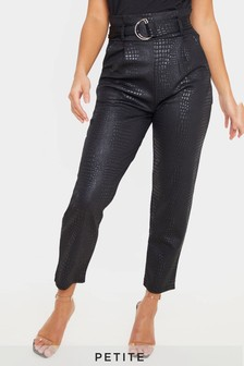 PrettyLittleThing Petite Croc Print D Ring Belted Skinny Trouser