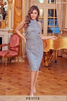 Sistaglam Petite Halter Neck Embellished Midi Dress