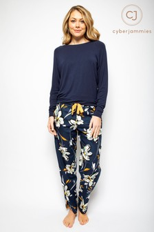 Cyberjammies Knit Top And Floral Pant Pyjama Set