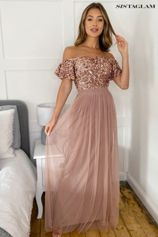 Sistaglam Sequin Bardot Maxi Dress