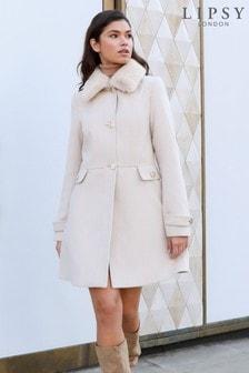 Lipsy Faux Fur Trim Princess Coat