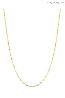 Simply Silver Sterling Silver 925 D/C Cut Station Chain Allway Necklace
