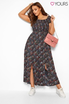 Yours Curve Floral Shirred Maxi Dress
