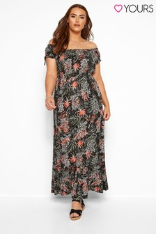 Yours Curve Palm & Animal Bardot Maxi Dress
