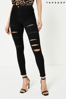 "Topshop Long Leg Super Ripped Jean 34"""" Long"