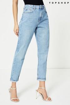 Topshop Regular Leg Bleach Mom Jeans