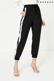 Topshop Black And White Side Stripe Joggers