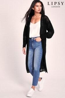 Lipsy Pointelle Volume Sleeve Longline Cardigan