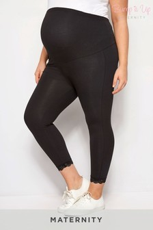 Bump It Up Maternity Lace Hem Crop Leggings