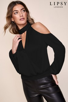 Lipsy Cold Shoulder Choker Detail Top