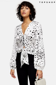 Topshop Animal Spot Tie Blouse
