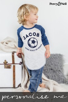 Personalised Future Footballer Organic Cotton Baseball Top by Percy & Nell