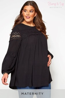 Bump It Up Maternity Lace Insert Long Sleeve Top