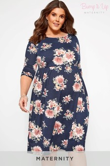 Bump It Up Curve Maternity Floral Print Skater Dress