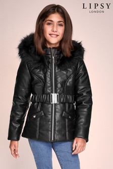 Lipsy Girl PU Padded Belt Coat