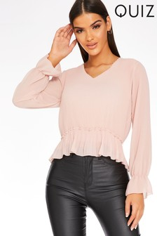 Quiz Pleated Tie Back Blouse