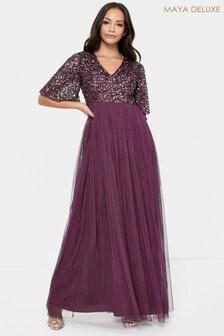 Maya V Neck Delicate Flutter Sleeve Sequin Maxi Dress