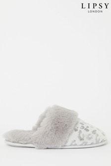 Lipsy Faux Fur Leopard Mule Slipper