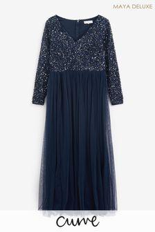 Maya Plus V Neck Long Sleeve Sequin Maxi Dress
