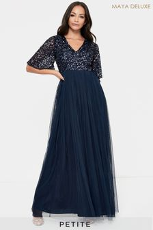 Maya Petite V Neck Delicate Sequin Maxi Dress With Flutter Sleeve