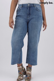 Simply Be Stonewash Joss Crop Wide Leg Jeans With Raw Cut Hem