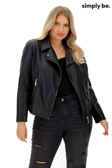 Simply Be Figure Shaping Biker Jacket With Jersey Panel Sleeves