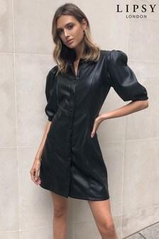 Lipsy Faux Leather Shirt Dress