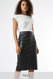 Dorothy Perkins Tall PU Midi Skirt