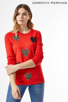 Dorothy Perkins Animal Print Heart Jumper