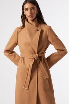 Dorothy Perkins Funnel Neck Belted Smart Coat