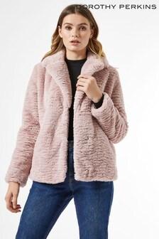 Dorothy Perkins Revere Collar Faux Fur Coat