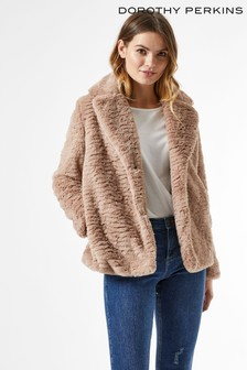 Dorothy Perkins Reverse Collar Faux Fur Coat