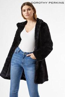 Dorothy Perkins Funnel Collar Fur Coat