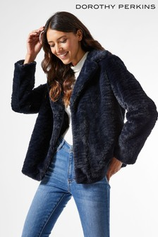 Dorothy Perkins Revere Collar Faux Fur Coat