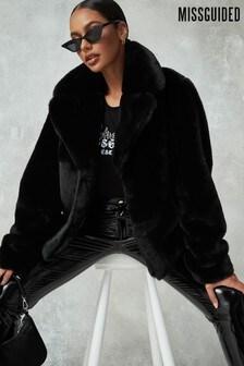 Missguided Short Collar Fur Coat