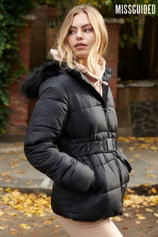 Missguided Belted Fur Hood Puffer